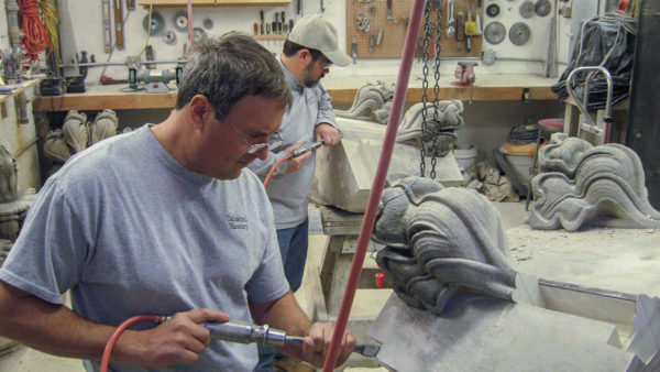 Stone carvers at work