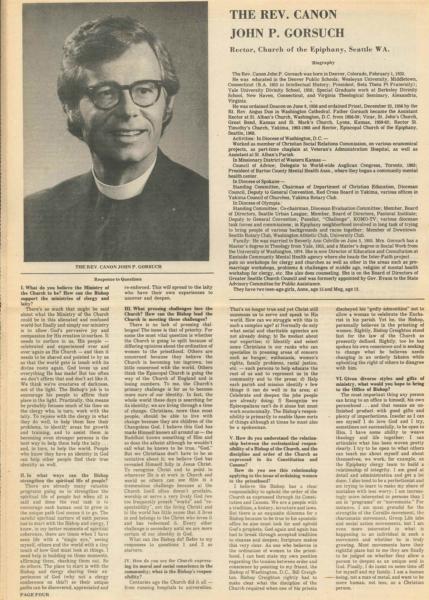 Bishop questionnaire