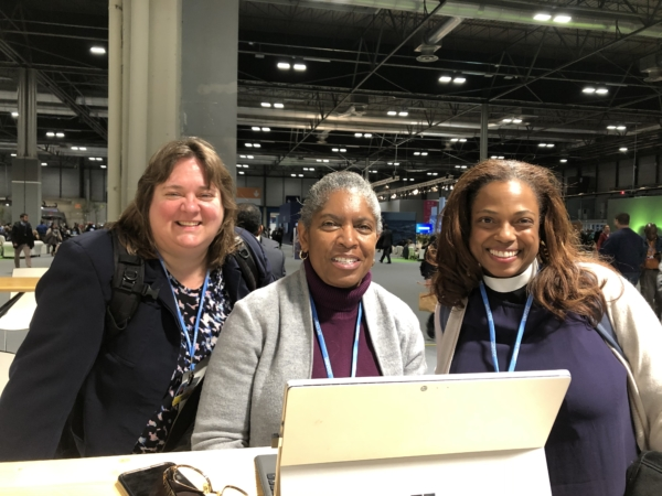 Lynnaia Main, The Episcopal Church's representative to the United Nations (left), Ruth Ivory-Moore, the Evangelical Lutheran Church in America's director for environment and corporate social responsibility (center) and the Rev. Melanie Mullen, The Episcopal Church's director of reconciliation, justice and creation care (right) at the United Nations Climate Conference COP 25 in Madrid, Spain, on Dec. 4, 2019. Photo courtesy of Lynnaia Main