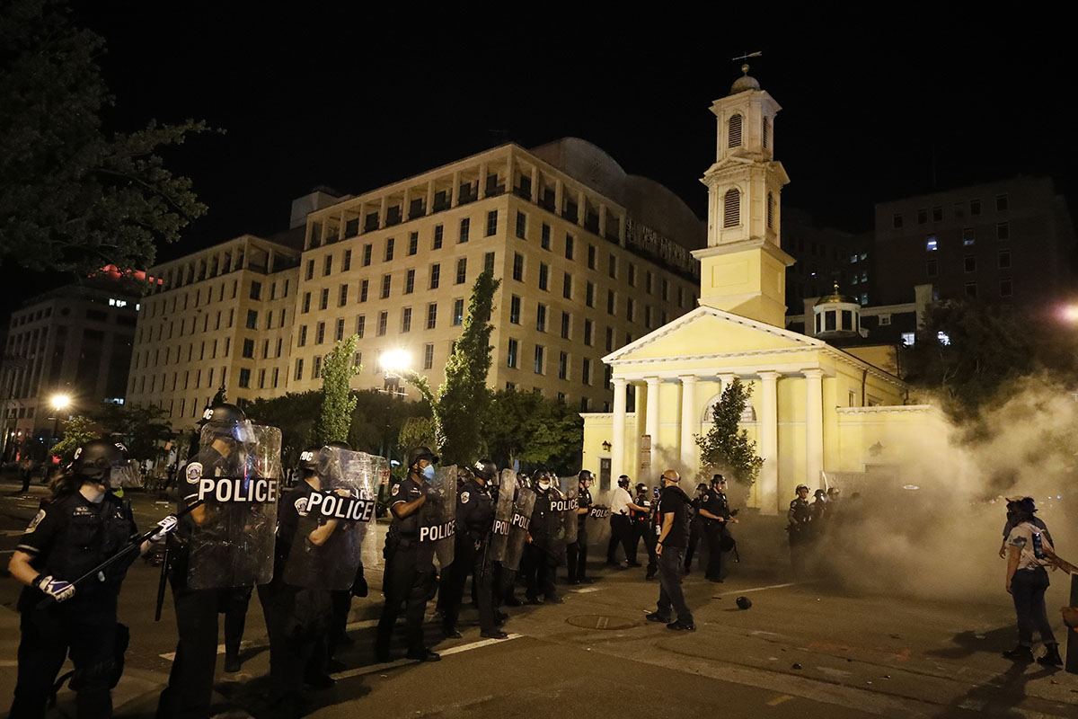 Historic St. John's Episcopal Church Set on Fire and Defaced by Rioters in Washington, D.C.
